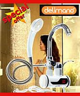 Проточный водонагреватель  Делимано (Delimano) с душем электрический  кран с LED екраном боковое подключение