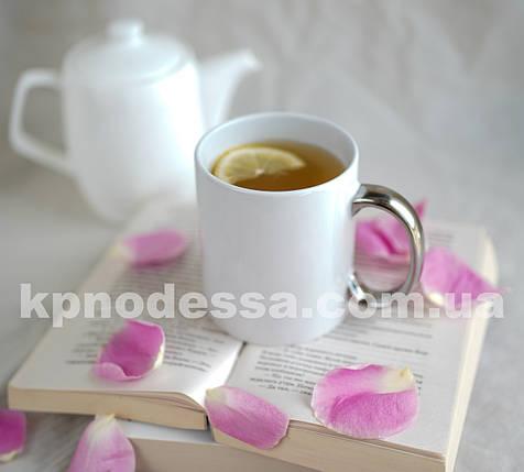 Белая чашка с серебристой ручкой с вашим фото или изображением любой сложности., фото 2
