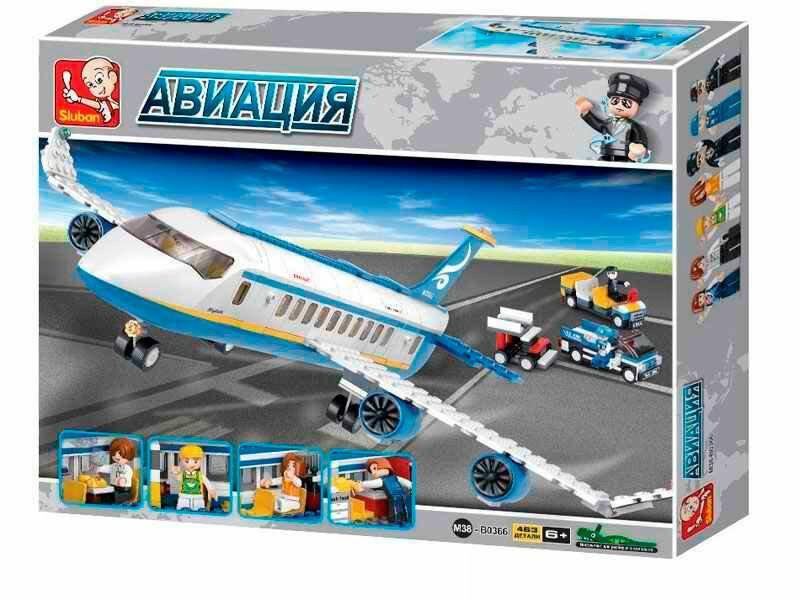 """Конструктор Sluban M38-B0366 """"Аеробус"""" 493 деталей. Конструктор літаків."""