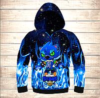 Толстовка 3D Leon Dark Blue Fire Brawl Stars