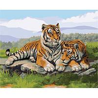 """Картина по номерам. Животные, тигры """"После охоты"""" 40х50см БЕСПЛАТНАЯ ДОСТАВКА"""