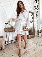 Платье мини весна-лето,с резинкой на талии,легкое,с длинным рукавом,чёрное,белое,С,М