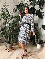 Платье по колено,черно-белый цветочный принт,с длинным рукавом,С,М