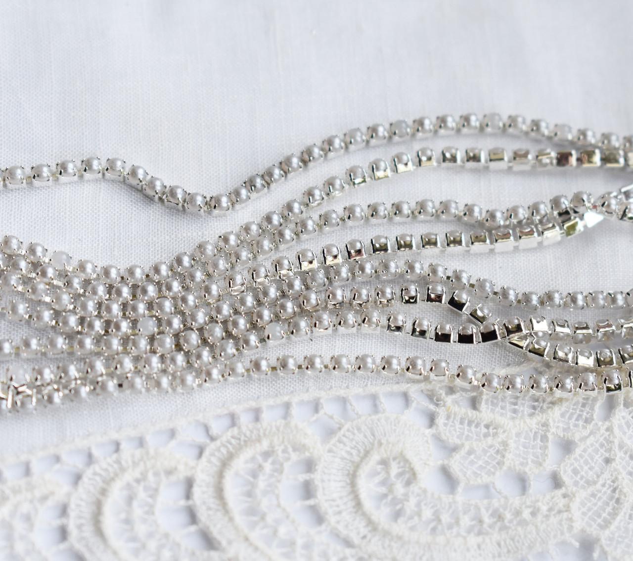 Стразовая цепь 1.5 мм, жемчужная бледно-серая \ серебро, 10 см