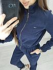 Комбинезон женский из вельвета в мелкий рубчик синий, фото 4