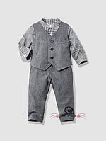 Классический костюм-тройка для мальчика, серый