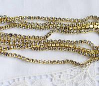 Стразовая цепь 1.5 мм, прозрачные\золото, 10 см