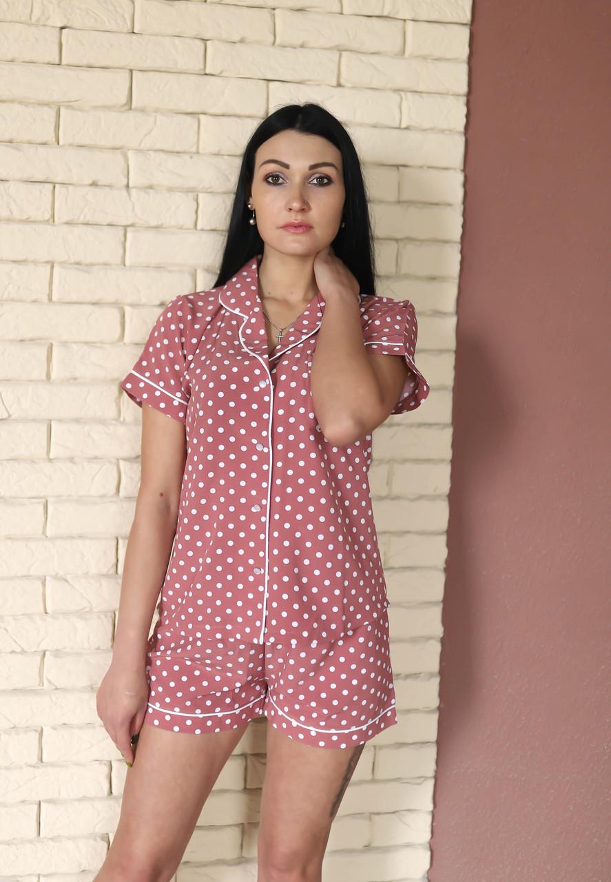 Костюмная летняя пижама из искусственного шелка пудра