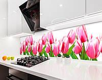 Кухонный фартук Тюльпаны Розовые (наклейка виниловая, скинали для кухни, самоклеющаяся пленка) цветы, розовый, 600*2500 мм