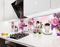 Кухонный фартук Цветы и Кофе Сирень Розы (наклейка виниловая, скинали для кухни, самоклеющаяся пленка) цветы, розовый, 600*2500 мм