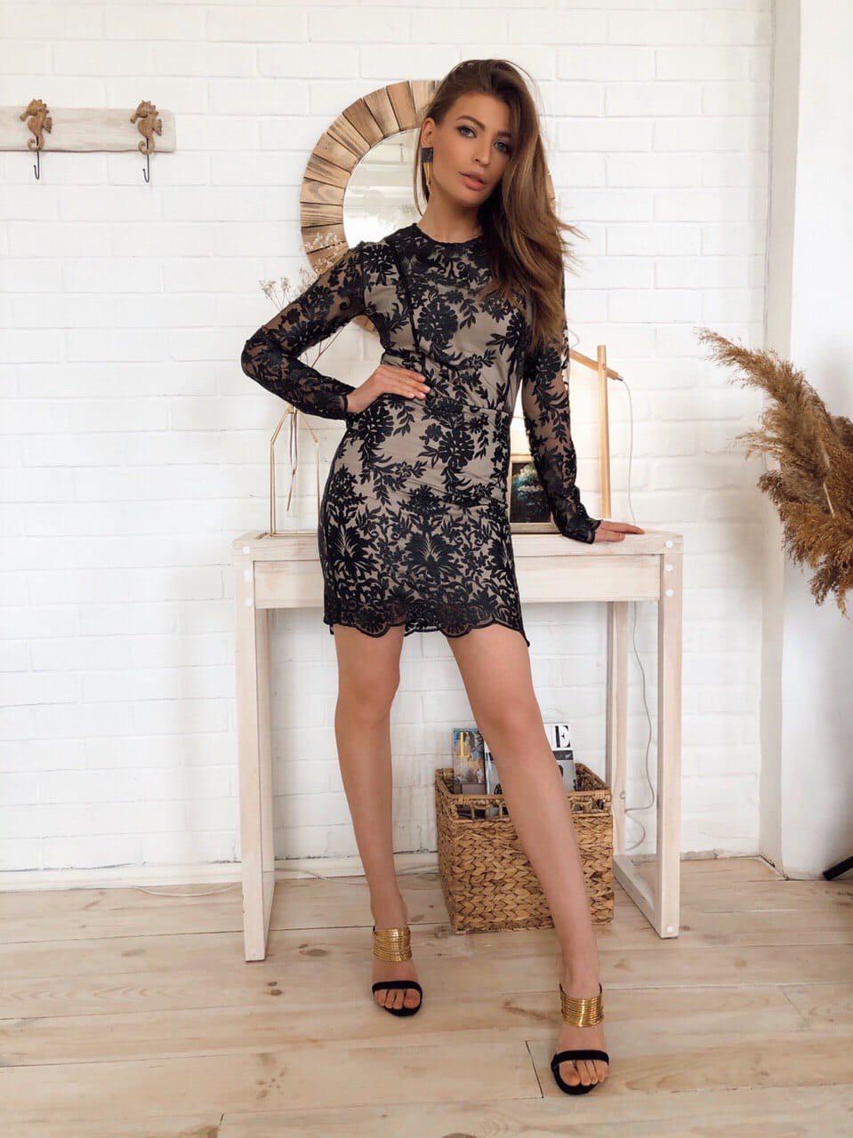 Платье вечернее,коктейльное,мини,из чёрного кружева, с длинным рукавом,С,М