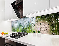 Кухонный фартук Дождь на стекле, капли воды на окне (виниловая самоклеющаяся пленка для кухни скинали) зеленый, 600*2500 мм