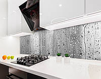 Кухонный фартук Дождь потоки воды на стекле капли (наклейка виниловая, скинали для кухни, самоклеющаяся пленка) серый, 600*2500 мм