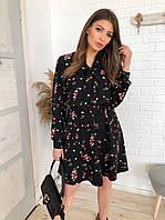 Платье чёрное в цветочек мини,под поясок,с завязками,длинный рукав,С,М
