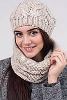 Женская вязаная шапка +хомут