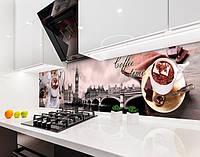 Кухонный фартук Лондон Время кофе (наклейка виниловая, скинали для кухни, самоклеющаяся пленка) Биг Бен, серый, 600*2500 мм