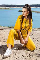 Женский прогулочный костюм летний цвет горчица двунитка