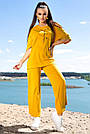 Женский прогулочный костюм летний цвет горчица двунитка, фото 3