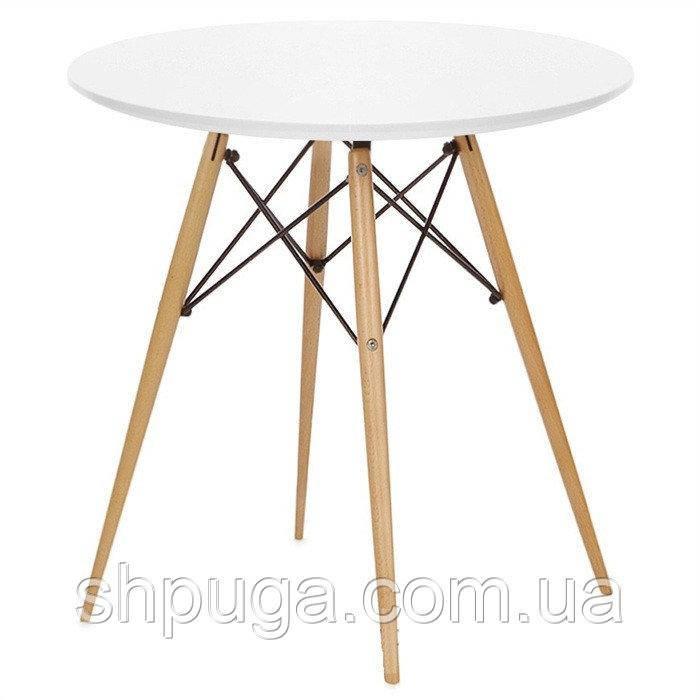Стол обеденный Тауэр вуд  дерево, бук, диаметр 80 см, цвет белый