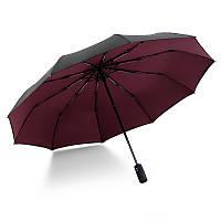 Зонт 10-ти спицевый с двойным куполом полный автомат KRAGO бордовый