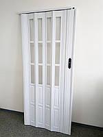Двері міжкімнатні гармошка полуостекленная, білий ясен 610, 860х2030х10мм