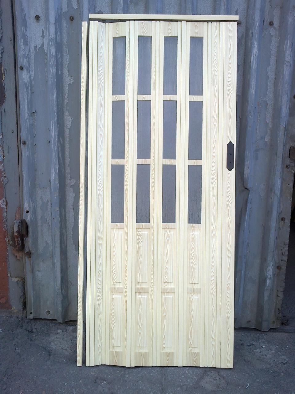 Дверь гармошка межкомнатная полуостекленная, сосна 7012, 860х2030х10мм