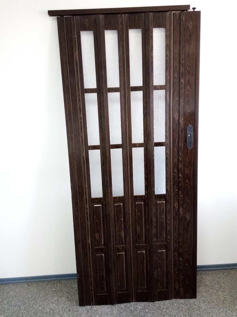 Дверь гармошка межкомнатная полуостекленная, орех 7103, 860х2030х10мм