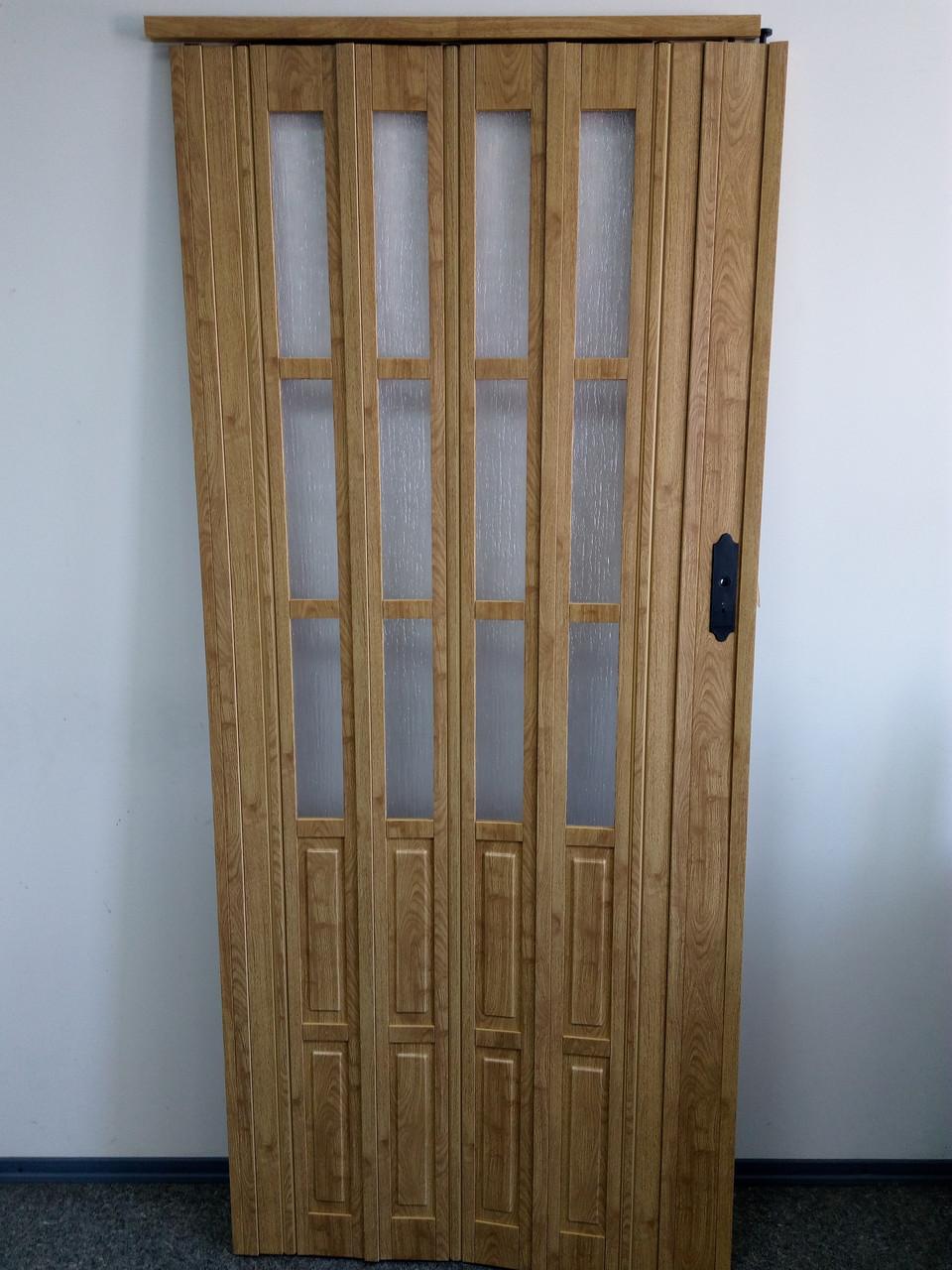 Дверь гармошка межкомнатная полуостекленная, дуб матовый 802, 860х2030х10мм