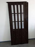 Двері міжкімнатні гармошка полуостекленная, горіх 7103, 860х2030х10мм