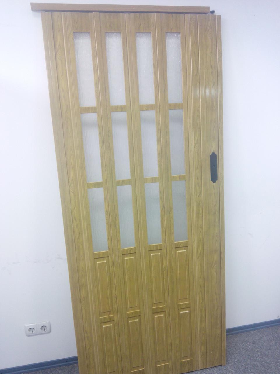 Дверь гармошка межкомнатная полуостекленная, дуб золотой 6103, 860х2030х10мм