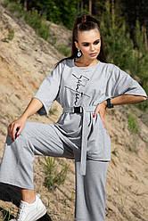 Серый женский прогулочный костюм летний двунитка