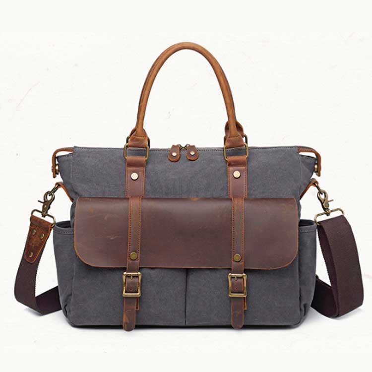 Мужской винтажный портфель S.c.cotton темно-серого цвета
