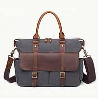 Чоловічий вінтажний портфель S.c.cotton темно-сірого кольору, фото 1