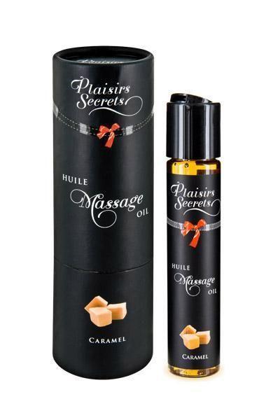 Массажное масло Plaisirs Secrets Caramel (59 мл) с афродизиаками, съедобное, подарочная упаковка