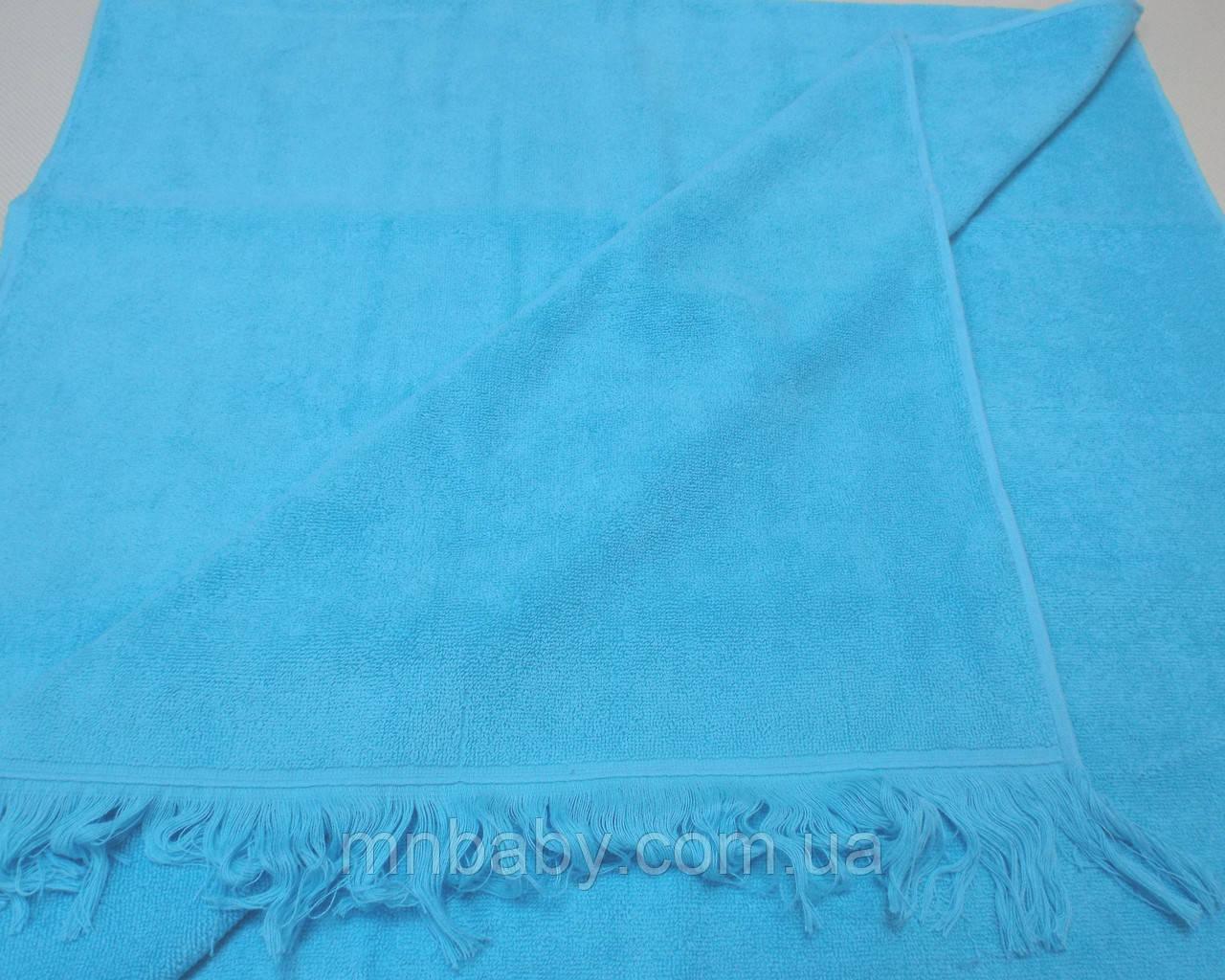 Полотенце с бахромой 70*140 см голубое