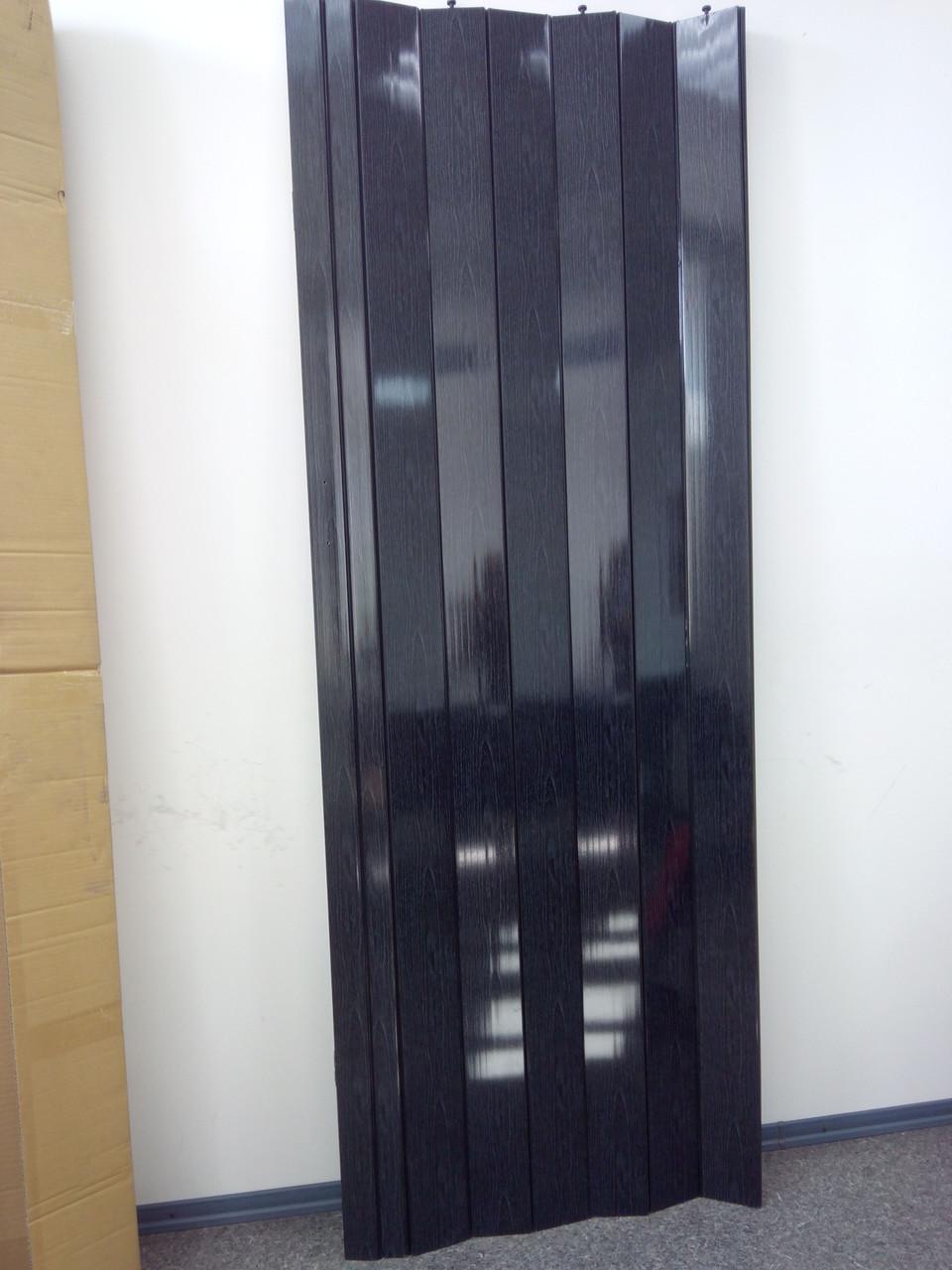 Дверь гармошка межкомнатная глухая, черное дерево 685, 810х2030х6мм