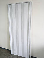 Дверь гармошка межкомнатная глухая, белый ясень 610, 810х2030х6мм
