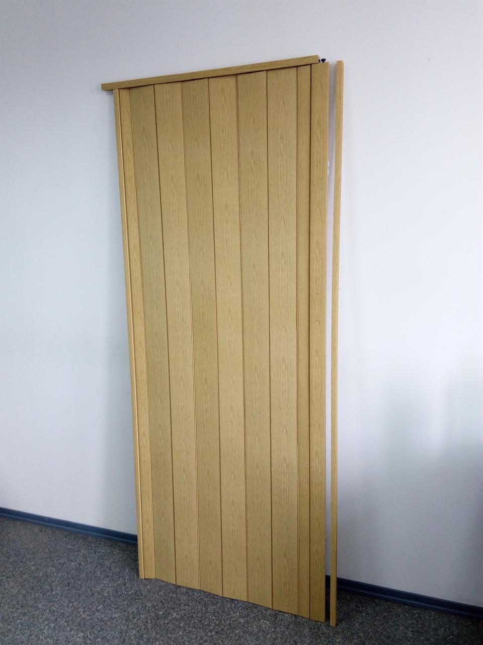 Дверь гармошка межкомнатная глухая, дуб светлый 269, 810*2030*6мм