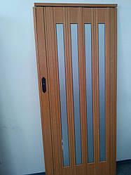 Дверь гармошка межкомнатная остекленная, вишня 501, зеркальное покрытие, 860х2030х12мм
