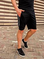 Шорты мужские с лампасами трикотажные черные / ТОП качества, фото 1