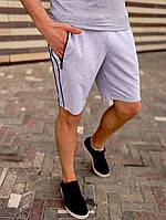 Шорты мужские с лампасами трикотажные серые / ТОП качества