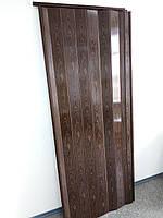 Двері міжкімнатні гармошка глуха, горіх 7103, 810*2030*6 мм