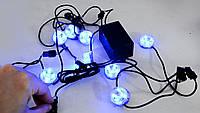 Стробоскопы 3 режима, точечная неоновая подсветка 8 штук, в салон авто, на днище авто