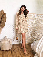 Платье весна-лето,мини,талия под поясок,длинный рукав,С,М,белое,бежевое