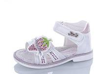 Детские летние босоножки / сандали для девочки на липучке белые Jong Golf с клубничкой, размеры 21-24