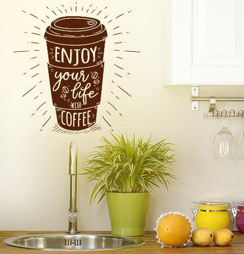 Наклейка на стену Enjoy (кофе всегда отличная идея)