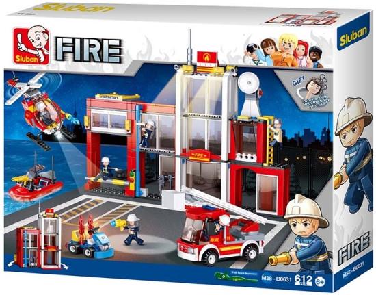 Конструктор Пожарная станция Sluban  M38-B0631, 612 дет. Пожарный конструктор, конструктор пожарный участок
