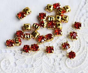Стразы пришивные 5 мм красные, стекло,10 шт