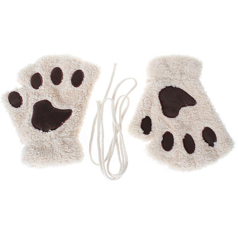 Перчатки-митёнки неко бежевые