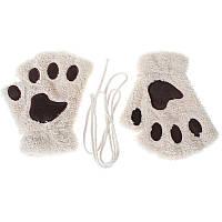 Перчатки-митёнки неко бежевые, фото 1